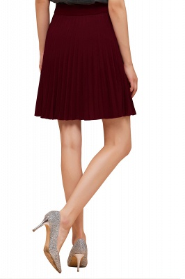 A-line Knitted Knee Length Pleated Skirt_148