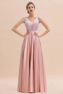 Pink Straps V Neck Beading Crystals A Line Floor Length Ruffles Prom Dresses | Backless Sash Evening Dresses_8