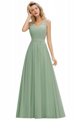 Simple V-neck Sleeveless Long Prom Dresses with soft Pleats_7