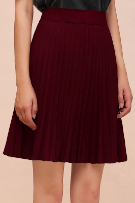 A-line Knitted Knee Length Pleated Skirt_149