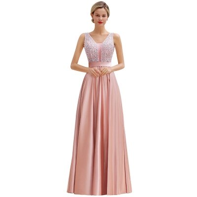 Pink Straps V Neck Beading Crystals A Line Floor Length Ruffles Prom Dresses | Backless Sash Evening Dresses_14