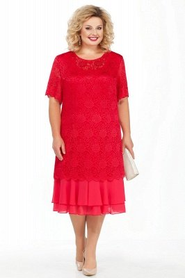 Lace Jewel Short Sleeves Tea Length Mother of Bride Dress_5