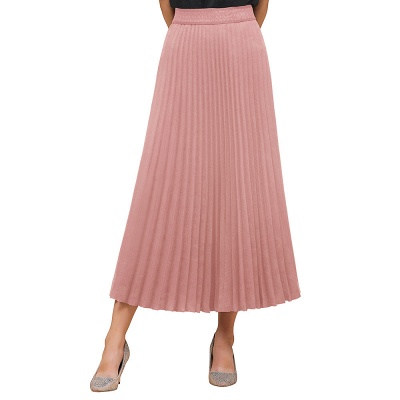 Knitted A-line Tea Length Pleated Skirt