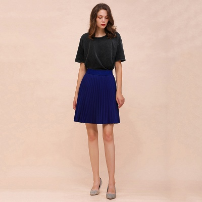 A-line Knitted Knee Length Pleated Skirt_77