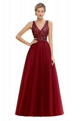 Sleeveless A-line Sequin Tulle Prom Dresses | Cheap Evening Dress_2