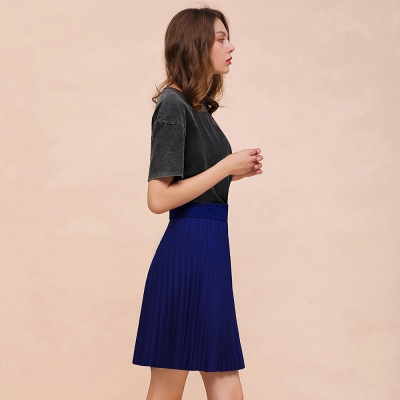 A-line Knitted Knee Length Pleated Skirt_71