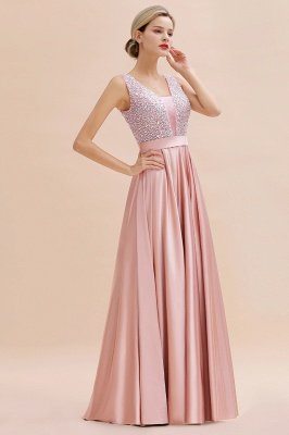 Pink Straps V Neck Beading Crystals A Line Floor Length Ruffles Prom Dresses | Backless Sash Evening Dresses_13