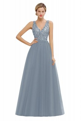 Sleeveless A-line Sequin Tulle Prom Dresses | Cheap Evening Dress_7