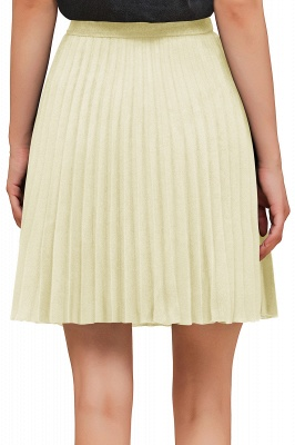 A-line Knitted Knee Length Pleated Skirt_135