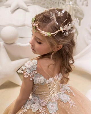 Cute Champagne Jewel Cap Sleeve Applique Pearls Ball Gown Flower Girl Dresses  | 3D Flower Ruffles Pageant Dress For Wedding Party_2