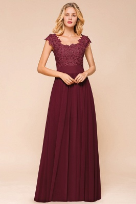 Cap Sleeve Scoop Lace Beading Floor Length Formal Evening Dresses | A Line Chiffon Sexy Prom Dresses_6