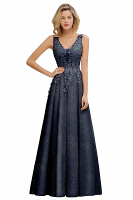 Elegant Sleeveless V-neck Floor Length Appliques Prom Dresses | Cheap Backless Evening Dresses_5