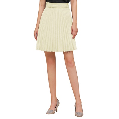 A-line Knitted Knee Length Pleated Skirt_51