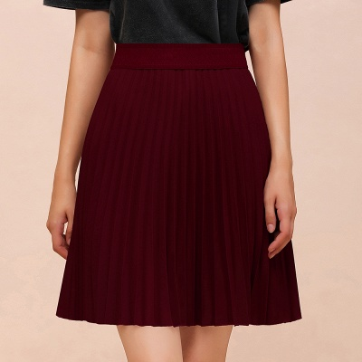 A-line Knitted Knee Length Pleated Skirt_61
