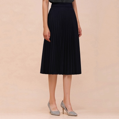 A-line Knitted Short Pleated Skirt_19