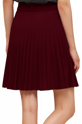 A-line Knitted Knee Length Pleated Skirt_161