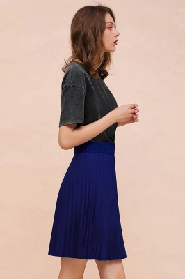 A-line Knitted Knee Length Pleated Skirt_162