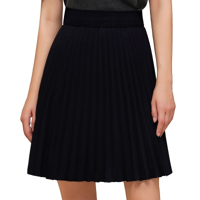 A-line Knitted Knee Length Pleated Skirt_14
