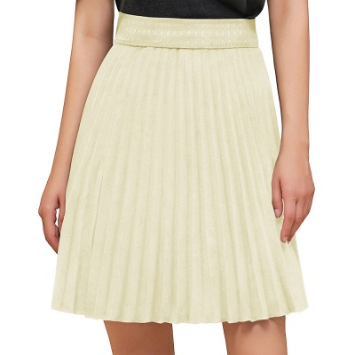 A-line Knitted Knee Length Pleated Skirt_18