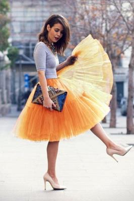 Elegant Tulle Short Ball-Gown Knee Length Elastic Women Skirts_21