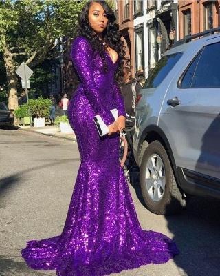 Luxury Long sleeve V Neck Sequined Ruffles Mermaid Prom Dresses_2