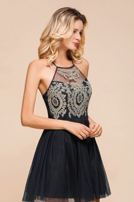 Latest Halter Applique Lace Short A Line Homecoming Dresses | Backless Cocktail Dresses_9