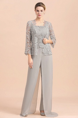 Elegant Silver Chiffon Mother of Bride Pants Suits with Lace Jacket_1
