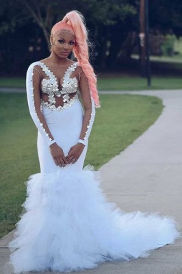 Round Neckline Long Sleeves Appliques White Mermaid Prom Dresses_1
