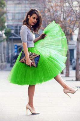 Elegant Tulle Short Ball-Gown Knee Length Elastic Women Skirts_50