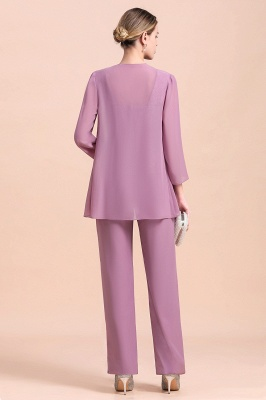 Lilac Chiffon Cheap Mother of Bride Pant Suits with Half Sleeves Jacket_3