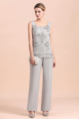 Grey Chiffon Mother of Bride Pant Suits with Half Sleeves Long Jacket_7