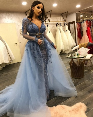 Gorgeous V-neck Long Sleeves Fitted Prom Dresses with Detachable Train_3