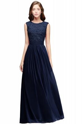 Elegant Sheath Crew Sleeveless Lace Top Chiffon Bridesmaid Dress_3