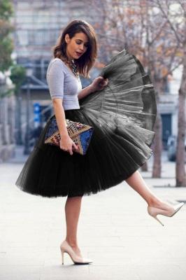 Elegant Tulle Short Ball-Gown Knee Length Elastic Women Skirts_39