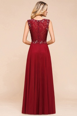 Burgundy Jewel Sleeveless Applique Lace Floor Length Prom Dresses | Beading Cheap Party Dresses_3