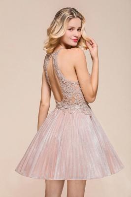Pink Halter Lace Applique Lace A Line Short Homecoming Dresses | Backless Cocktail Dresses_8
