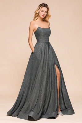 Attractive Strapless Front Slit A Line Prom Dresses | Criss Cross Sequined Evening Dresses_8