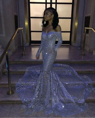 Sparkly Off the Shoulder Long Sleeves Mermaid Silver Prom Dresses_2