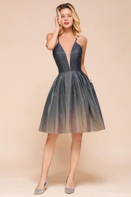 Sexy Spaghetti Strap V-neck Ruffles Short Knee Length Homecoming Dresses | Criss Cross Graduation Dresses_6