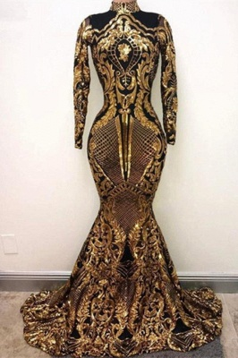 Golden High Neck Long Sleeve Sequined Mermaid Prom Dresses   Fitted And Flare Evening Dresses_1
