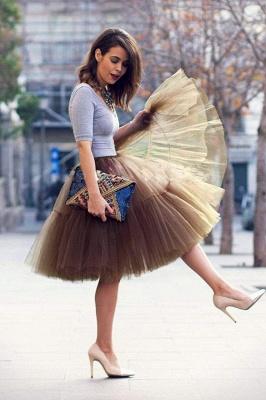 Elegant Tulle Short Ball-Gown Knee Length Elastic Women Skirts_71