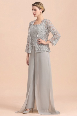 Elegant Silver Chiffon Mother of Bride Pants Suits with Lace Jacket_5