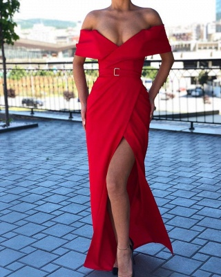 Sexy Red Off-the-shoulder Front Slit Sheath Floor Length Prom Dress | Cheap Evening Gown_2