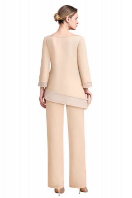 Champagne Bateau  3/4 Sleeves Chiffon Mother of Bride Pant Suits_9