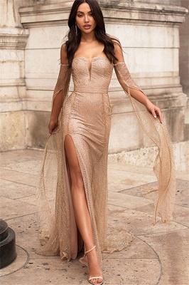 Deep V-neck Off The Shoulder Front Slit Sequined Backless Prom Dresses | Fitted And Flare Evening Dresses_1