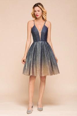 Sexy Spaghetti Strap V-neck Ruffles Short Knee Length Homecoming Dresses | Criss Cross Graduation Dresses_4