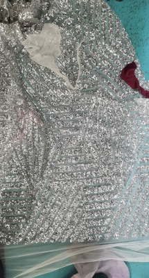 Sparkly Off the Shoulder Long Sleeves Mermaid Silver Prom Dresses_3