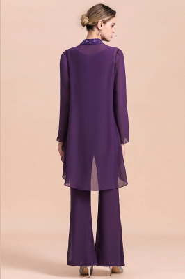 Grape Chiffon Mother of Bride Jumpsuit with Long-Sleeve Jacket_3