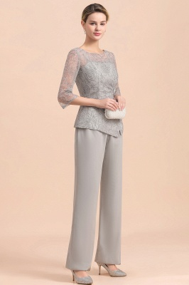 Elegant Smokey Blue Round Neck Half Sleeves Lace Mother of Bride Pants Suits_7