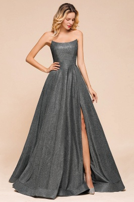 Attractive Strapless Front Slit A Line Prom Dresses | Criss Cross Sequined Evening Dresses_3